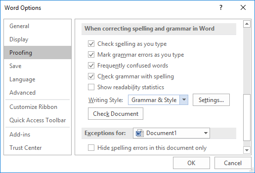 word options proofing dialog